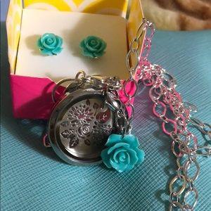 Aqua Rose floral set